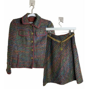 RARE 1960s CHANEL Couture Tweed Wool Belt Suit Set